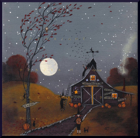 """Time To Let The Bats Out,"" a Small Halloween Witch Bat Pumpkins PRINT by Deborah Gregg"