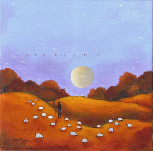 """Harvest Moon,"" an Autumn Sheep Shepherdess Fall Leaves PRINT by Deborah Gregg"