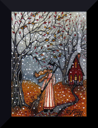 """The Wild and Changing Skies of Autumn,"" a Tiny Aceo sized Cat Fall Leaves PRINT by Deborah Gregg"