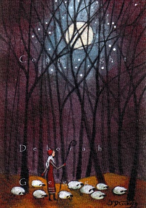 """Till The End Of The Earth,"" an ACEO sized Tiny Sheep Moon Shepherdess Print by Deborah Gregg"