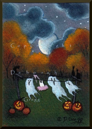 """Ghosts On The Line,"" a tiny Halloween Ghost Moon ACEO PRINT By Deborah Gregg"
