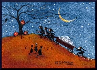 """Lost In Transit,"" a Halloween Marshmallow Haul Jack O Lanterns Moon Cats Tree Hill aceo PRINT by Deborah Gregg"