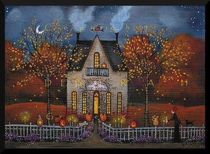 """Halloween Night, Company's Coming!""  A Halloween Autumn Tearoom Print by Deborah Gregg"