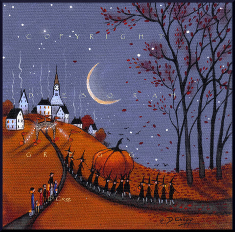 """Helgas Contender For The Biggest Pumpkin Contest,"" a Halloween Autumn Witch Print by Deborah Gregg"
