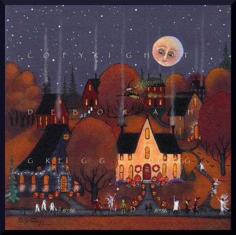 """I Think That's A Real Witch,"" a Halloween Witch Trick or Treat PRINT by Deborah Gregg"
