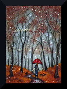 """Under A Red Umbrella,"" a Tiny ACEO Autumn Fall Leaves Snow PRINT by Deborah Gregg"