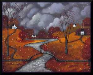"""Winter Sends a Greeting,"" a First Snow Autumn Fall Leaves Print by Deborah Gregg"