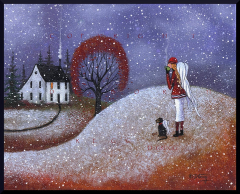 """A Watchful Eye,"" (Large version) a Guardian Angels First Snow Dog Saltbox PRINT by Deborah Gregg"