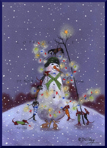 """Christmas Lights...On Everything!"" A small Dachshund Christmas Snowman PRINT from the original by Deborah Gregg"