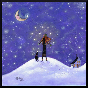 """Hidden In Your Soul,"" a Stars Dreams Goals Winter Sky Moon PRINT by Deborah Gregg"