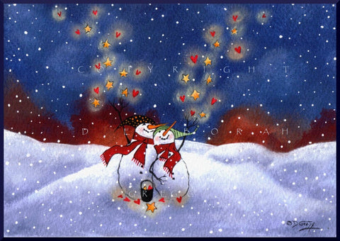 """Blessings And Love Are Coming Your Way,"" a Winter Snowman Hearts Stars Love PRINT by Deborah Gregg"