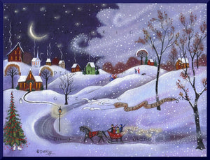 """In The Lane Snow Is Glistening,"" a Winter Lights Family Snow Squall Sledding Horse and Sleigh PRINT by Deborah Gregg"