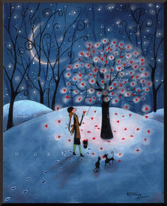 """Take As Much As You Need,"" a Valentines Love Hearts Winter Moon PRINT by Deborah Gregg"