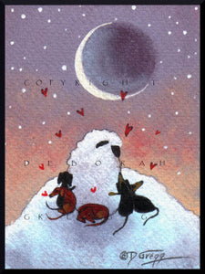 """Love Times Five,"" a tiny Sheep Dachshunds Moon Winter Snow PRINT by Deborah Gregg"
