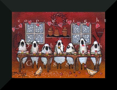 """Valentines Cupcake Assembly Line,"" a Tiny Sheep Cupcakes Barn Hearts Chickens Love PRINT by Deborah Gregg"