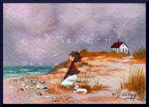 """Last Day At Land's End,"" a tiny Beach Seaside Maltese PRINT by Deborah Gregg"