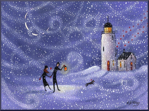 """Stronger Together,"" a small Love Lighthouse Snow Storm Dog Wind PRINT by Deborah Gregg"