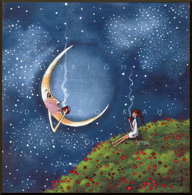 """Bending The Moons Ear,"" a small Friends Moon Coffee Break Poppy Field Spring PRINT by Deborah Gregg"