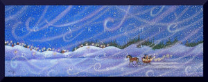 """May The Warm Lights Of Winter Guide Your Heart Home,"" a small winter solstice Snow Folk Art Sleigh PRINT by Deborah Gregg"