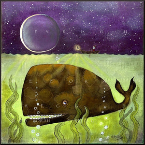 """What You Dont See,"" a Whale Ocean Moon Print by Deborah Gregg"