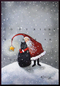 """A Hug From Santa,"" a Small Bouvier Dog Santa Christmas Snow PRINT by Deborah Gregg"