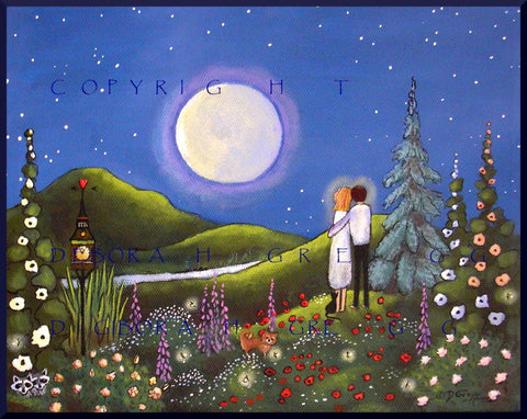 """Soul Mates,"" a small Summer Love Flower Garden Yorkie Moon PRINT by Deborah Gregg"