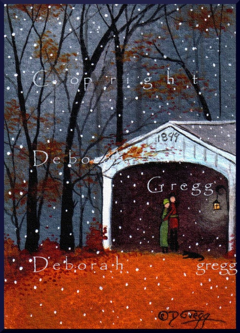 """November Snowflakes,"" a tiny Autumn Covered Bridge Fall leaves PRINT by Deborah Gregg"