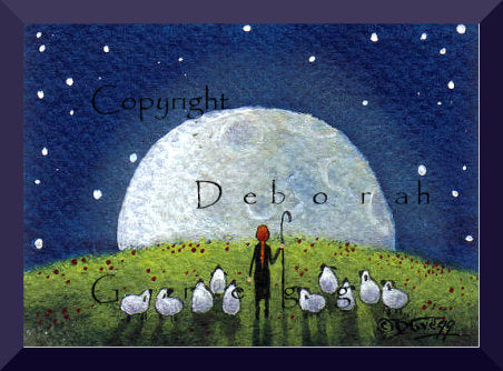 """Gather Your Courage,"" a Tiny Sheep Shepherdess Super Moon Print by Deborah Gregg"