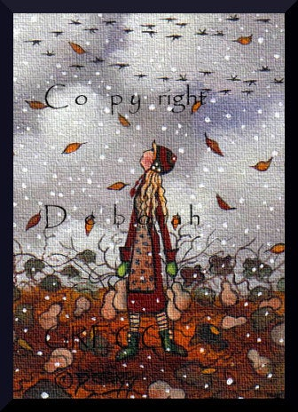 """God's Speed and Safe Journey,"" a tiny aceo Autumn Gourd Harvest Geese Autumn Leaves PRINT by Deborah Gregg"