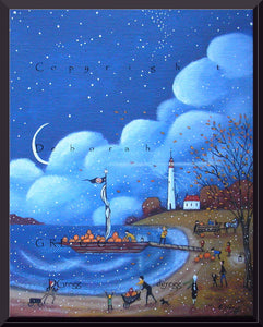 """Pumpkins For Gull Island,"" a small Autumn Lighthouse Print by Deborah Gregg"