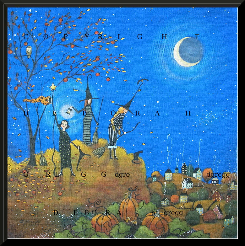 """Halloween Flight Hours,"" a Witch October Night Moon Stars Pumpkins PRINT by Deborah Gregg"