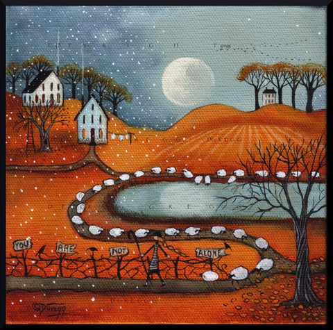 """You Are Not Alone,"" a Shepherdess Sheep Fall Full Moon PRINT by Deborah Gregg"