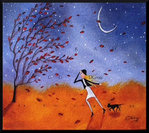 """Against The Wind,"" a Small Autumn Winds Fall Leaves Black Cat Folk Art PRINT by Deborah Gregg"