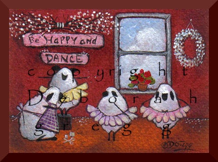 """Be Happy and Dance,"" a tiny Sheep Dancing Tutus Ballerinas Girls Print by Deborah Gregg"