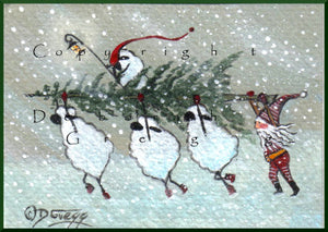 """Christmas Spirit In A Snow Storm,"" a Tiny Sheep Christmas Tree Blizzard Elf Print by Deborah Gregg"