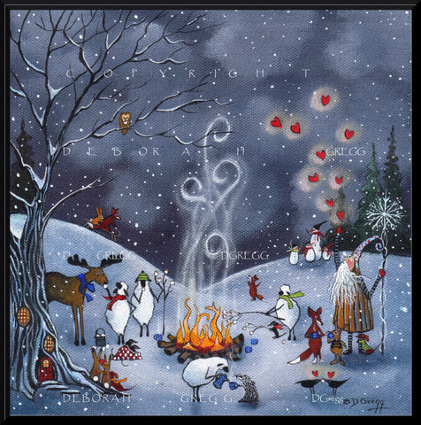 """Winter Friends,"" Sheep Crows Moose Badger Rabbits Dachshunds Old Man Winter Fox Valentine Hearts PRINT by Deborah Gregg"