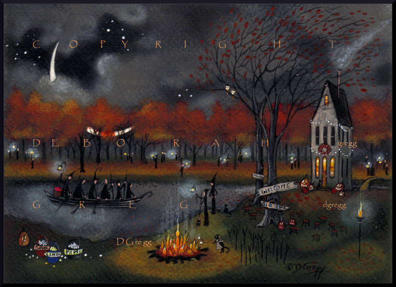"""Marshmallow Meeting,"" a Halloween Witch Marshmallow Roast Black Cats Jack o Lanterns River Bonfire Folk Art Print by Deborah Gregg"