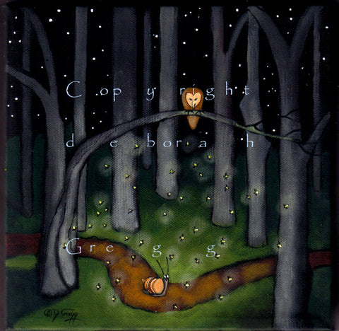 """Help Comes When You Least Expect It,"" a Snail Lightning Bugs Fireflies Barn Owl Woods PRINT by Deborah Gregg"