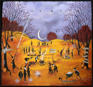 """Newbies,"" a Halloween Witches October Nights Moon Print by Deborah Gregg"