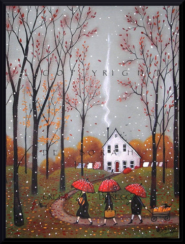 """Pumpkins For Pie,"" a Small Autumn Pumpkin Fall Leaves Red Umbrella PRINT by Deborah Gregg"