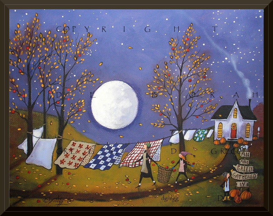 """Quilts And Flannels For Chilly Nights,"" a Full Moon Autumn Laundry Line PRINT by Deborah Gregg"