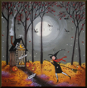 """Pit Stop,"" a small Halloween Outhouse Witch Jack o Lanterns PRINT by Deborah Gregg"
