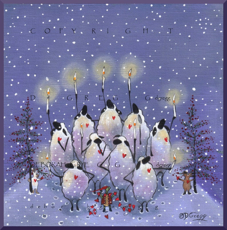 """Our Hearts Are Full,"" a small Hannukah Christmas Sheep Candles PRINT by Deborah Gregg"