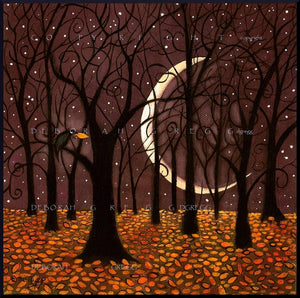 """The Last Leaf,"" a Fall Autumn Crow Woods Crescent Moon Print by Deborah Gregg"