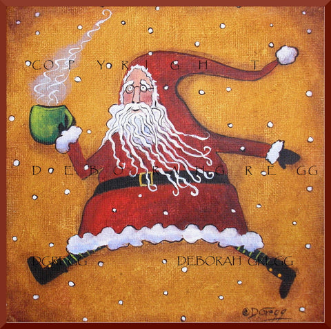 """On The Go With Cocoa,"" a Small Folk Art Santa Primitive Christmas PRINT by Deborah Gregg"