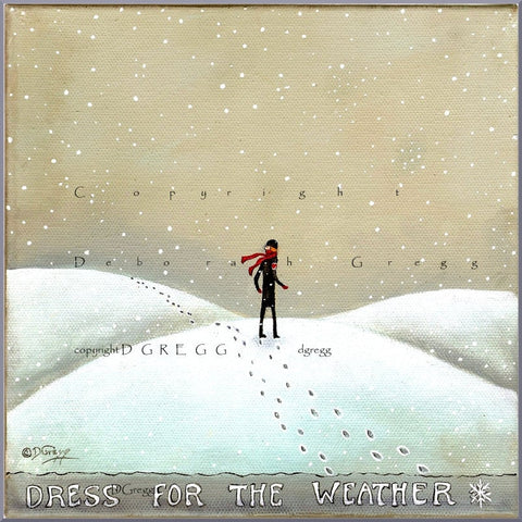"""Dress For The Weather,"" a Winter Snow Heart Print by Deborah Gregg"