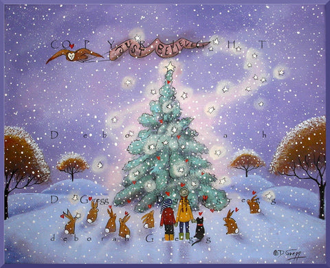 """Just Believe,"" a Small Winter Snow Hearts Christmas PRINT by Deborah Gregg"
