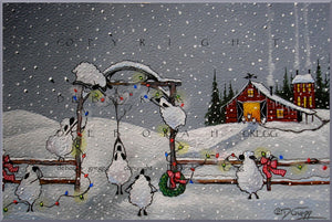 """A Christmas Welcome,"" a Sheep Barn Country Holiday Snow Print by Deborah Gregg"