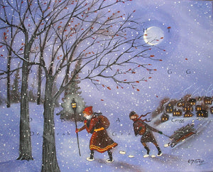 """Shall Yourselves Find Blessing,"" a Snowy Winter Christmas PRINT by Deborah Gregg"
