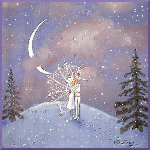 """Jack Frost And Suzie Snowflake Together At Last,"" a small Winter Moon PRINT by Deborah Gregg"